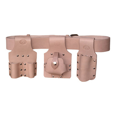 scaffolding tool belt set 4pc - tan leather - connell of sheffield